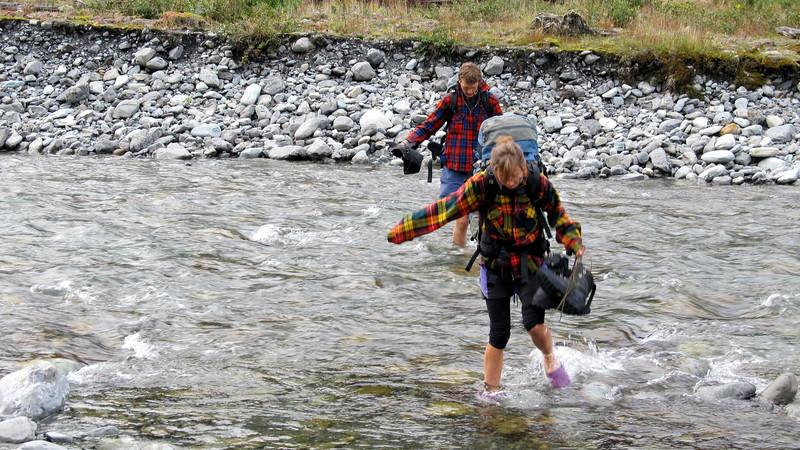 Tom and Laura enjoying a refreshing river crossing.