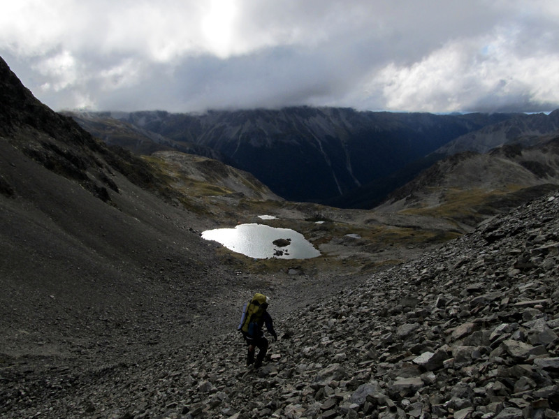 Descending to Travers Pass.