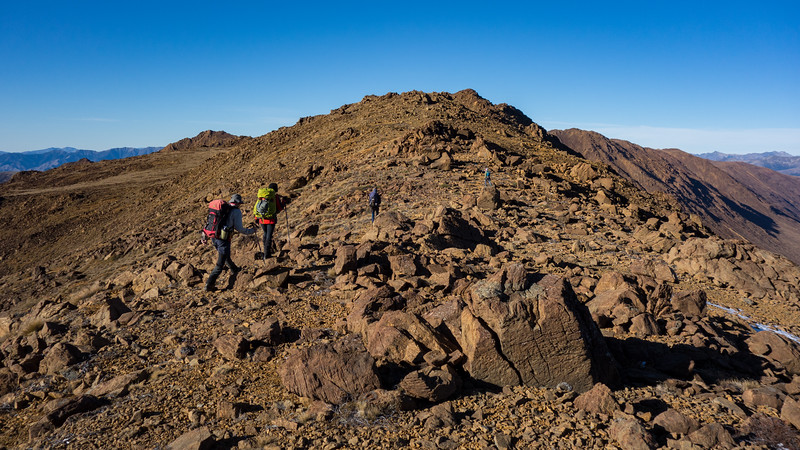 Starting the long ridge traverse to the summit of Red Hill.