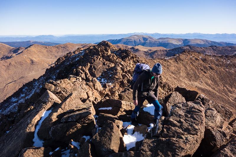 Simon reaching the summit.