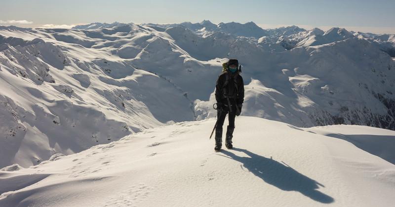 Alaska? No - Lewis Pass tops, Gloriana and Faerie Queene above James' head.