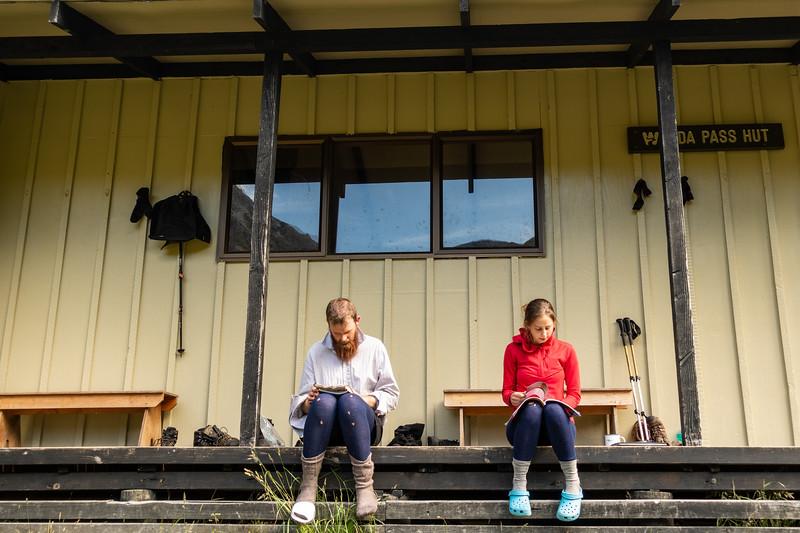 Relaxing at Ada Pass Hut .