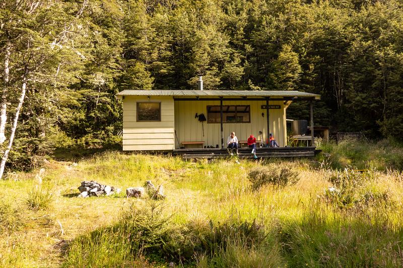 Relaxing at Ada Pass Hut (photo - James Thornton).