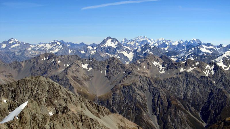Mt Sibbald, D'Archiac, Mt Cook, Tasman and Elie de Beaumont.