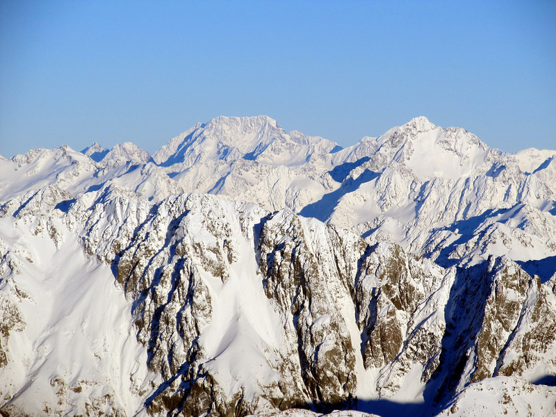 Mt Cook and D'Archiac from Hakatere Peak.