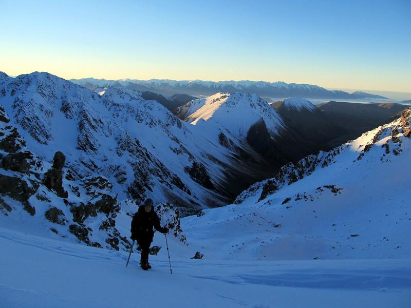 Kat below Hakatere Peak, South Ashburton Valley below.