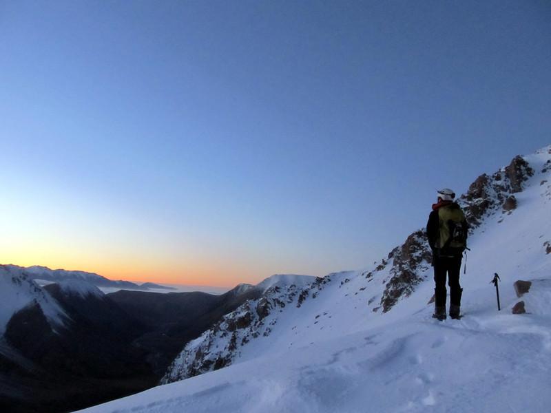 James making his way up to the basin below Hakatere Peak, South Ashburton Valley below.