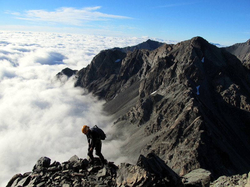 Climbing the South Ridge of Alma.