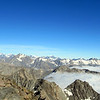 Julia reaching the top of Mt Alma, Mt Cook just right of her, D'Archiac on the far right.