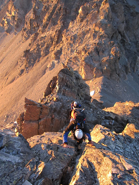 Climbing the South Ridge of Alma.