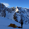 Our camp on the South Cameron Glacier, Couloir peak with its prominent couloir on the left.