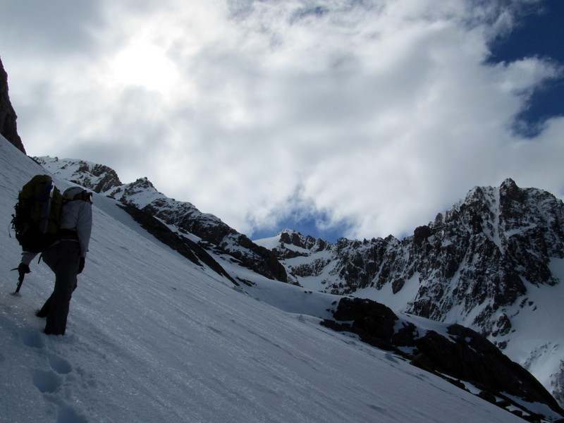 Making our way up to our camp on the South Cameron Glacier, Couloir Peak with its prominent couloir on the right.
