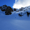 View of our route, the central couloir of Arrowsmith (left of the cloud) from the South Cameron glacier.