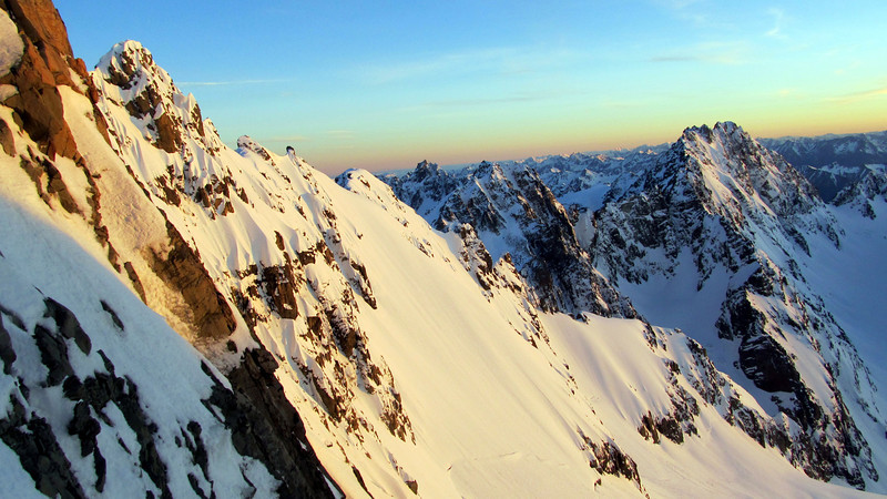 Couloir Peak with early morning light, North Peak left of it.