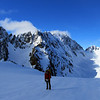 Arriving at the South Cameron Glacier, Couloir Peak with its prominent couloir on the left.