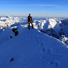 Me on the summit of Arrowsmith, Mts Whitcombe and Evans on the left.