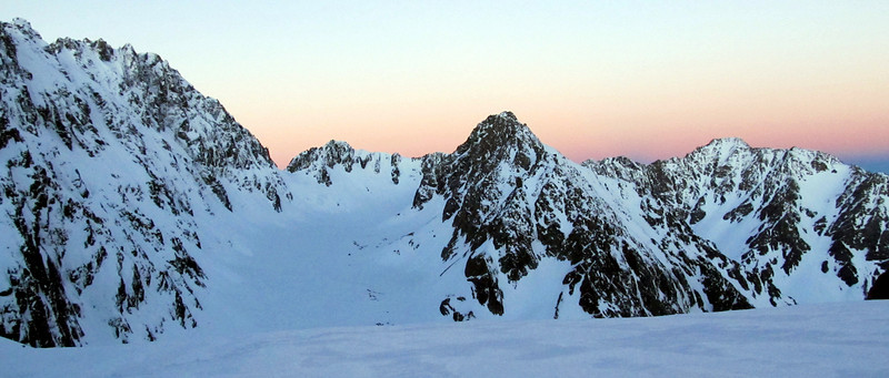 Sunset from out camp, Tent Peak in the centre, The Marquee on the right.