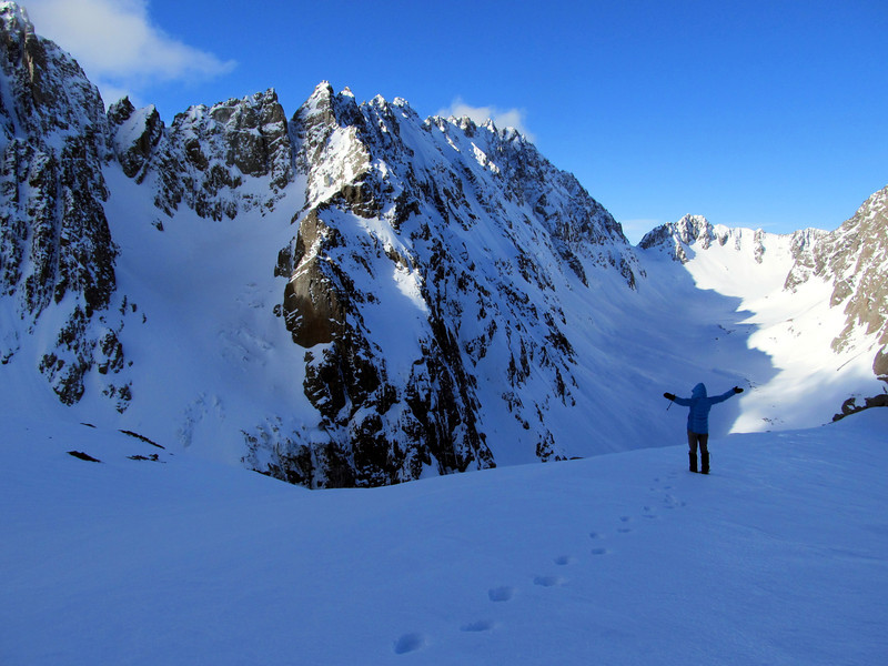 Me waving at Marta and Andrew (out of sight), who are making their way up to their high camp below Couloir Peak.