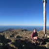 Kat on the summit of Big Mt Peel.