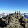 On the middle peak of Mt Sibbald, Mt Ellie de Beaumont on the left.
