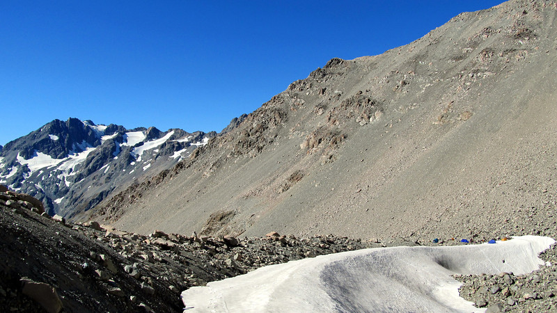 Camp at 2000m, Mt Forbes on the left.