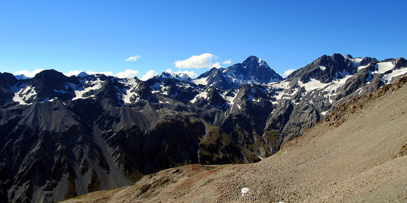 Mt D'Archiac and Mt Forbes. Our route up the scree to the camp at 2000m in the foreground.