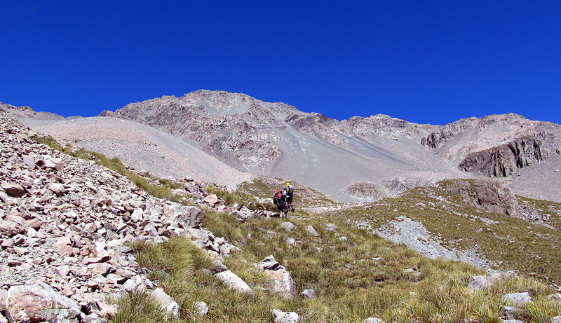 Gaining height towards our camp at 2000m, Pt 2516m above.