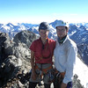 James and I on the south summit of Sibbald, the exposed summit ridge behind.