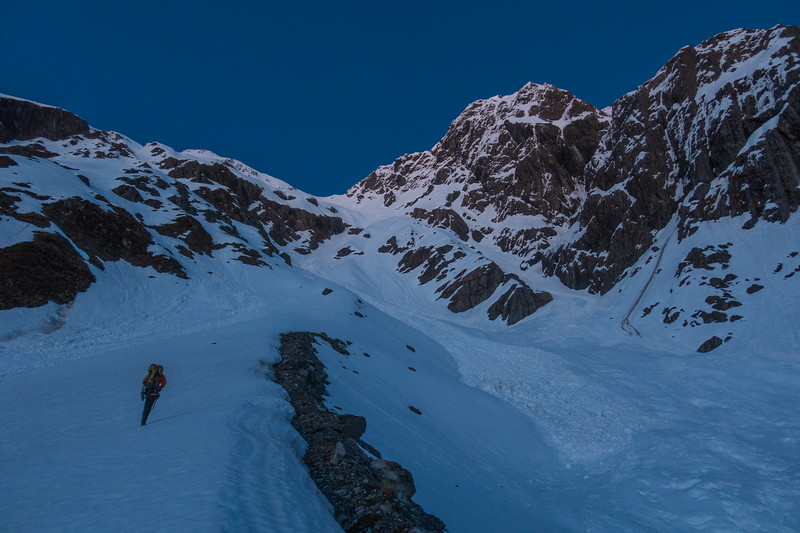 Heading up to the col with the Mathias at dawn.