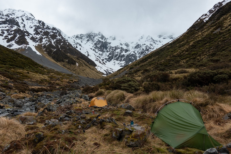 Wet afternoon at camp in the head of Moa Stream.