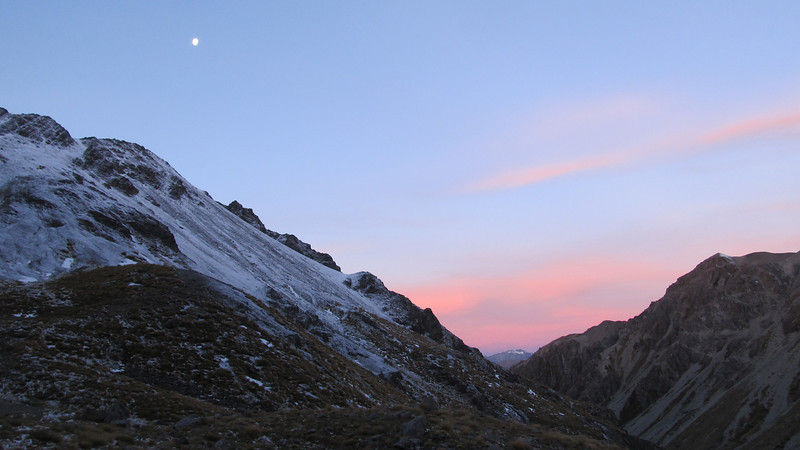 Sunset at our campsite above Kakapo Stream.