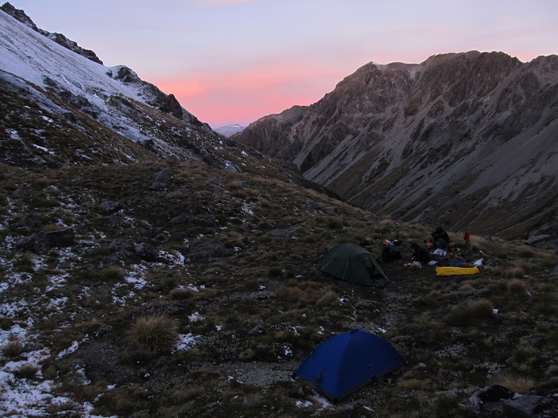 Our campsite above Kakapo Stream.