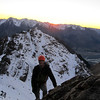 Simon on the NE ridge of Turret Peak at sunrise.