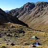 Back at camp above Kakapo Stream, Mt Gideon above.