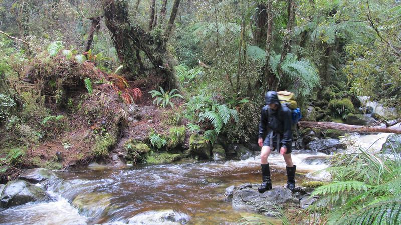 Crossing a side stream.