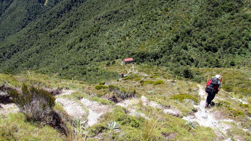 Descending to Buckland Peaks Hut.