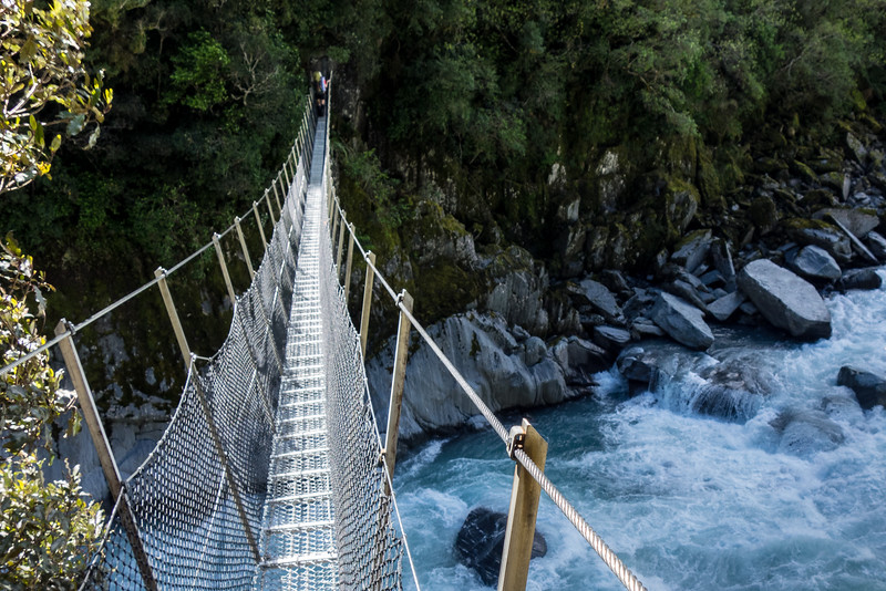 Crossing the impressive swingbridge across Collier Gorge.