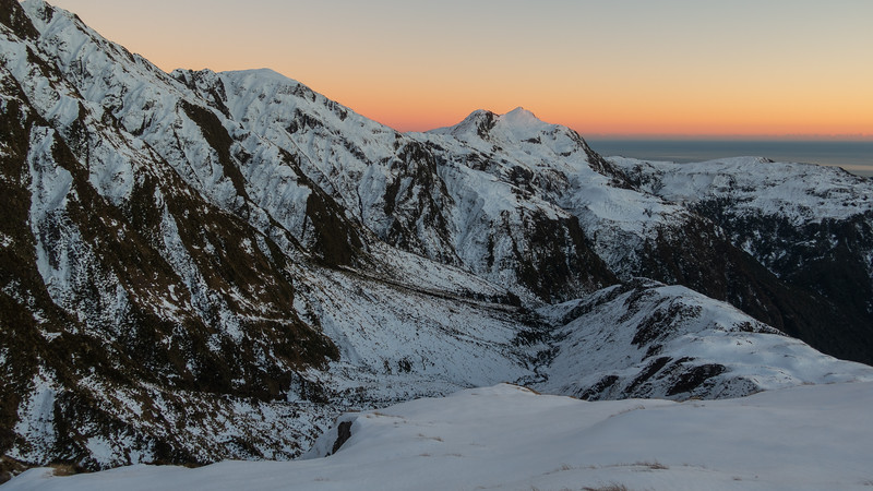 Mt Allen and the basin above Isobel Falls at sunrise.