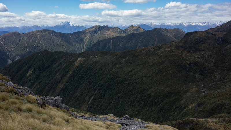 Towards Hohonu Peaks and Taff Tor, Mt Alexander on the horizon.