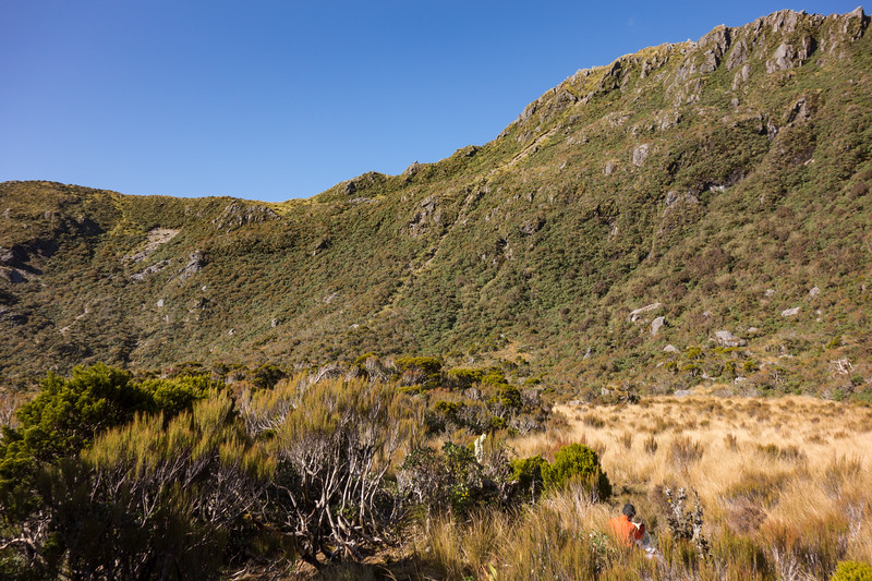 Dining with a view. We came down the tussock lead on the left of slip on the left, down through some scrub,  then down the gravel gully on the left.