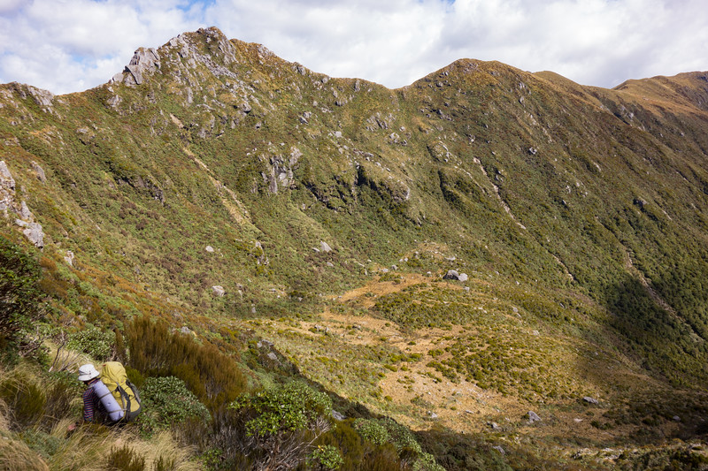 Descending into the head of Smart Creek. The rock biv is the big boulder slightly to the right of the centre image.