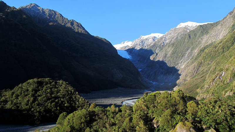 Franz Josef Glacier from Sentinel Rock.