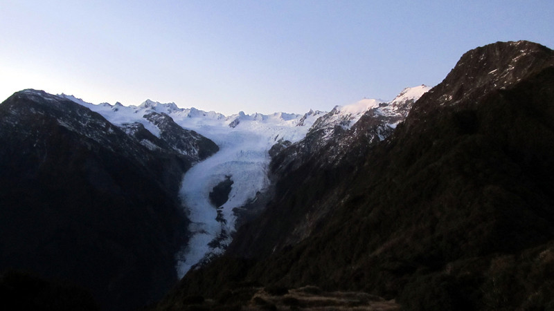 Franz Josef Glacier and Neve at sunrise, Lemmer Peak on the right.