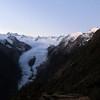 Franz Josef Glacier and Neve at sunrise, Lemmer Peak on the right.