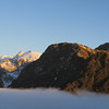 Ebenezer Peak (just poking out of the cloud at the bottom image), Lemmer Peak and Mt Moltke from our camp on Alex Knob.