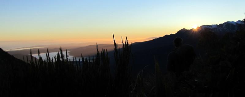 Tim on the ridge to Ebenezer Peak at sunrise.