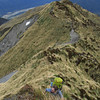 Climbing up the steep spur below Mt Kerr.