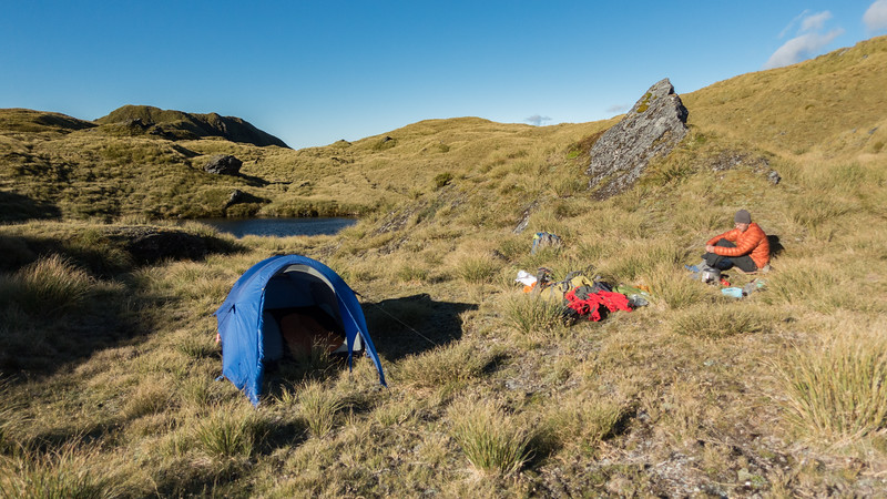 Camp by some lovely tarns on Miserbale Ridge.