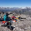Morning tea on the summit of Bowen (photo - James Thornton).