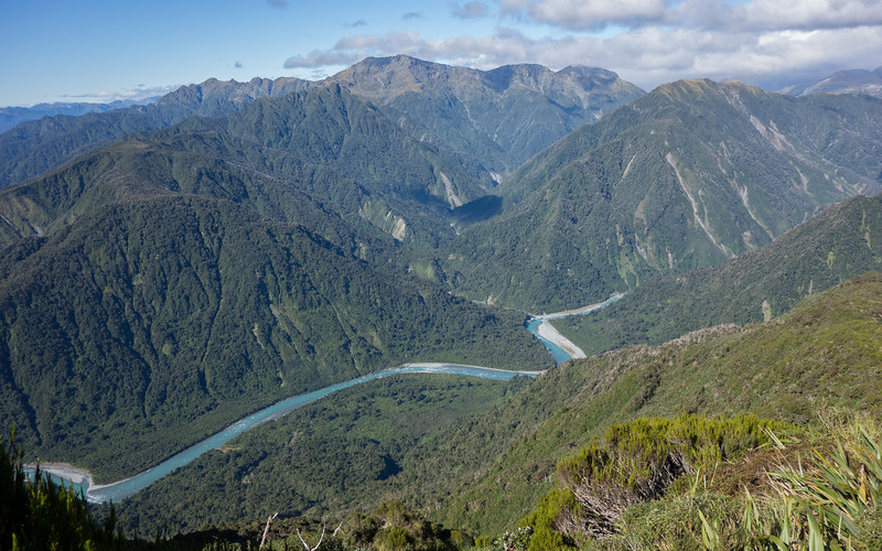Down to the Whitcombe, the Hokitika coming out of its gorges.